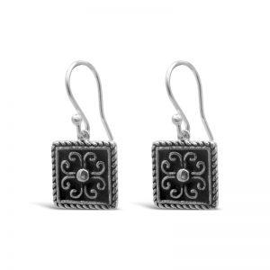 Sterling-silver-enamel-square-black-earrings