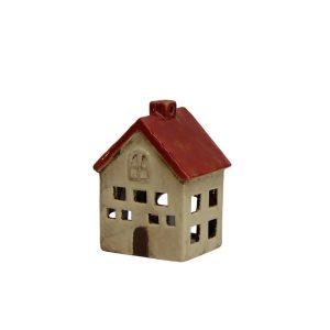 short red and white tea light house