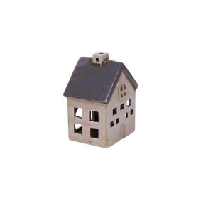 small blue and white tea light house