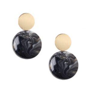 Black-Marbled-Disc-Drop-Earring