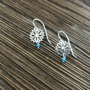 Sterling-Silver-Daisy-Turquoise-Earring