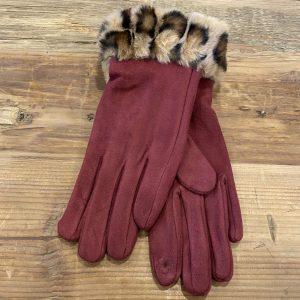 Gloves-Burgundy-Leopard