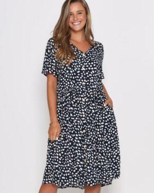 Leoni-Navy-Leopard-Dress